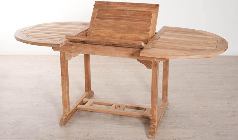 table repas ovale teck brut extensible 120 180 cm delhi