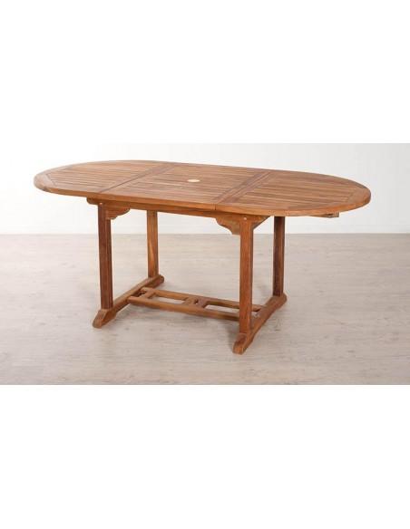 table jardin ovale teck huile extensible 120 180 cm lanta