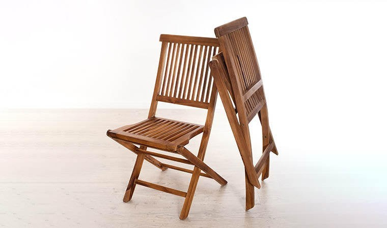 lot de 2 chaises pliantes en teck huile lanta