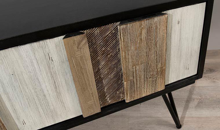 meuble tv scandinave en bois massif et metal marin