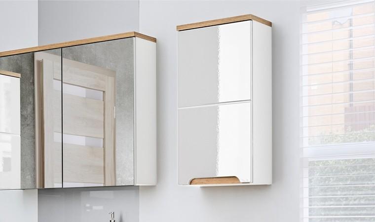 meuble rangement mural sdb blanc et chene cambay
