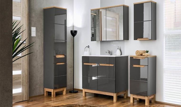 ensemble meuble salle de bain gris vasque 80 cm cambay