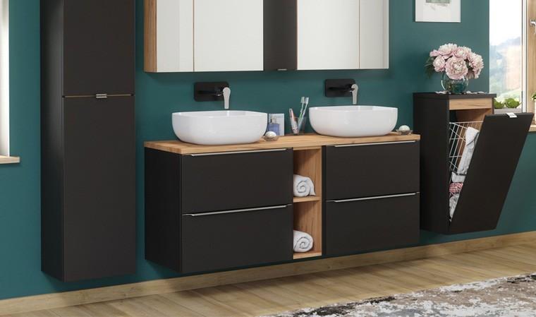 meuble suspendu noir avec deux vasques a poser 140 cm caraibes