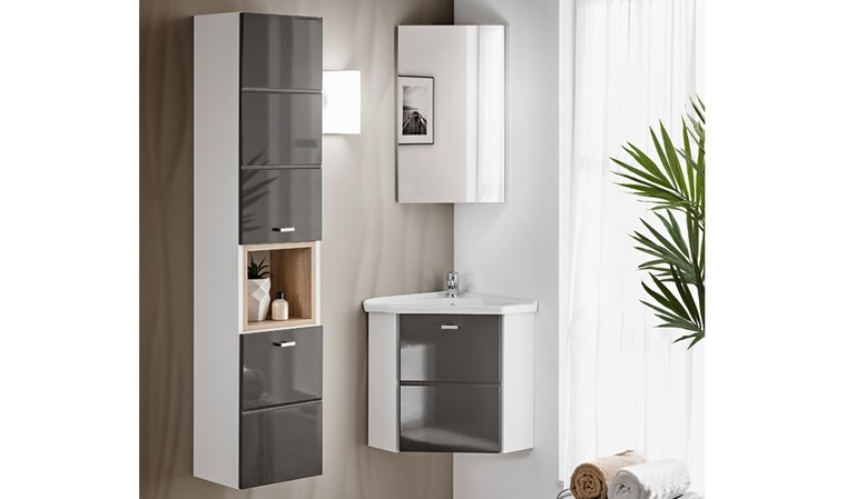 ensemble meubles d angle sdb gris kara