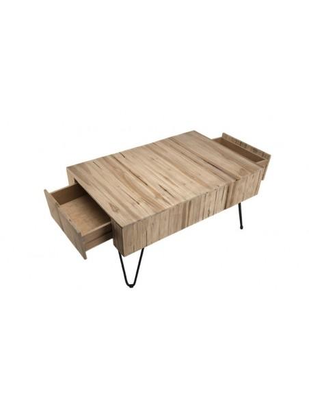 table basse 2 tiroirs en teck et acier tectona