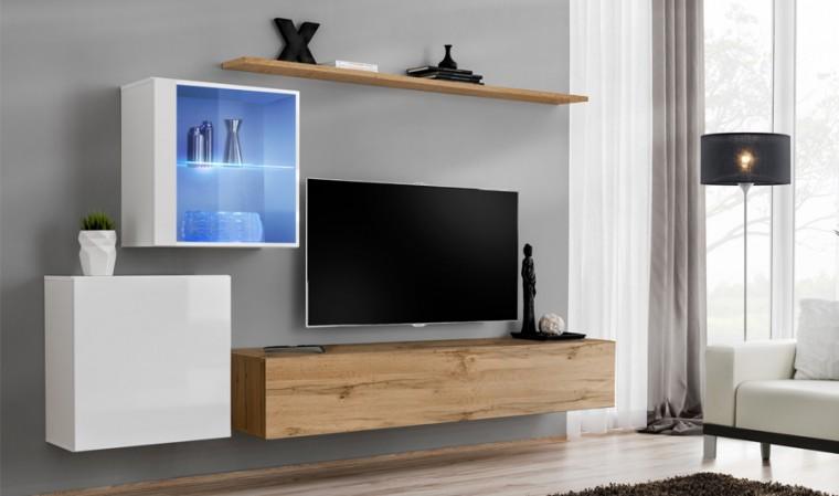 meuble tv complet mural couleur blanc et chene palerme xv