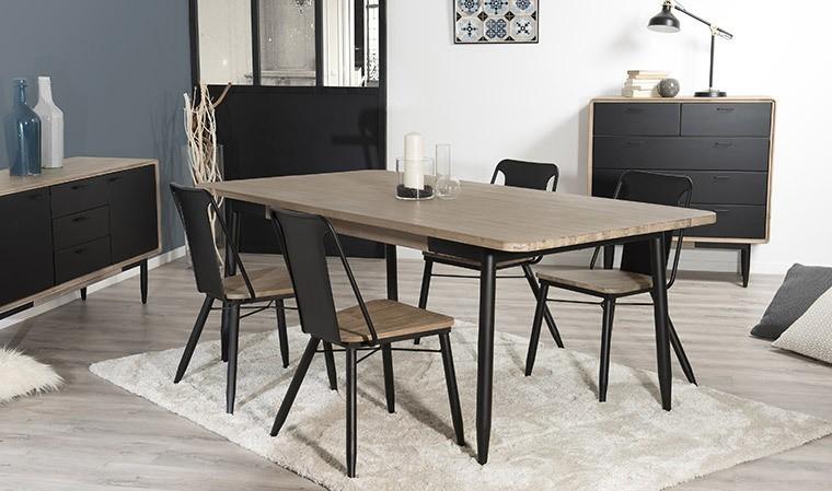 table salle a manger acacia et metal 200 x 100 cm nero