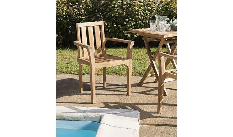 fauteuil de jardin en teck empilable delhi