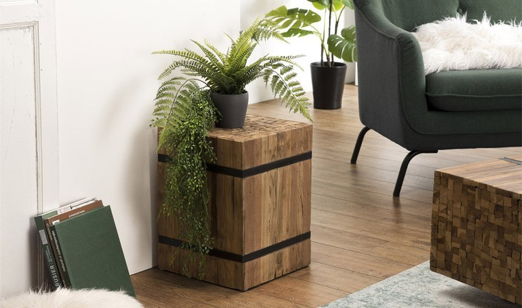 table d appoint carre en teck recycle et metal mandalay