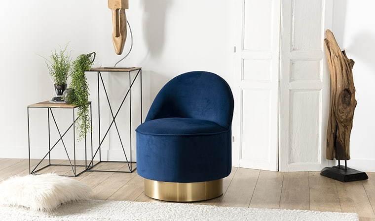 fauteuil velours bleu marine emilia