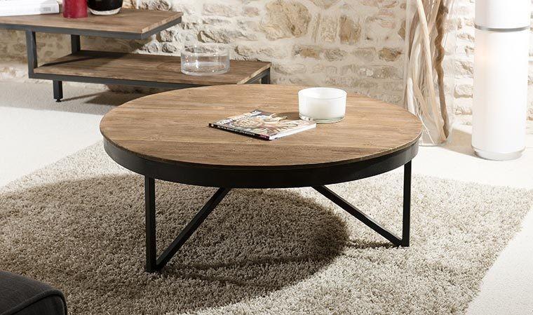 table basse ronde en teck et metal 90 cm thekku