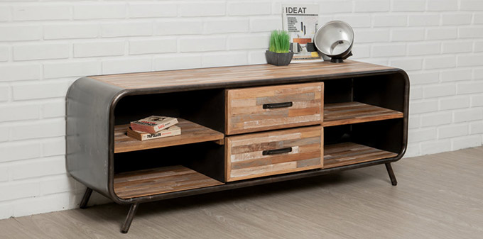 meuble tv vintage en teck recycle et