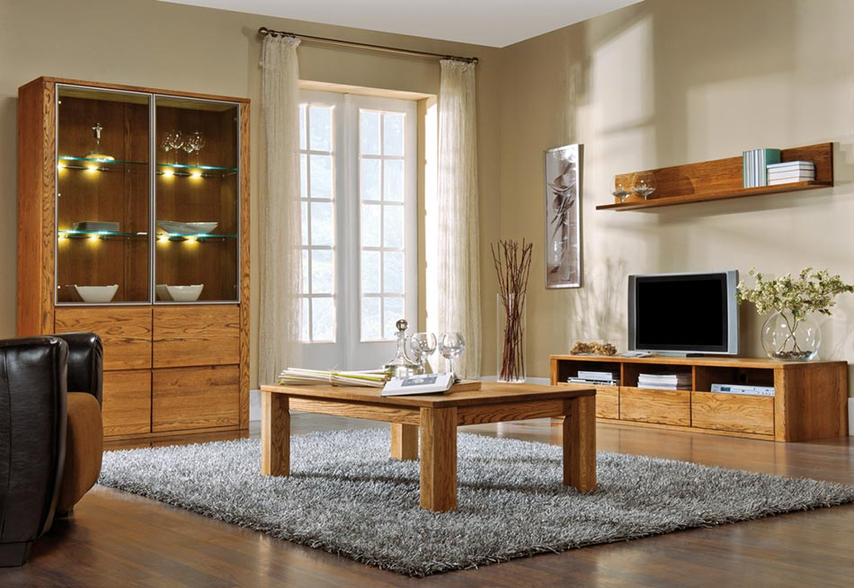 meuble de rangement mural en bois de chene