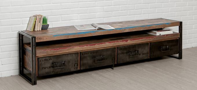grand meuble tv indus en teck recycle