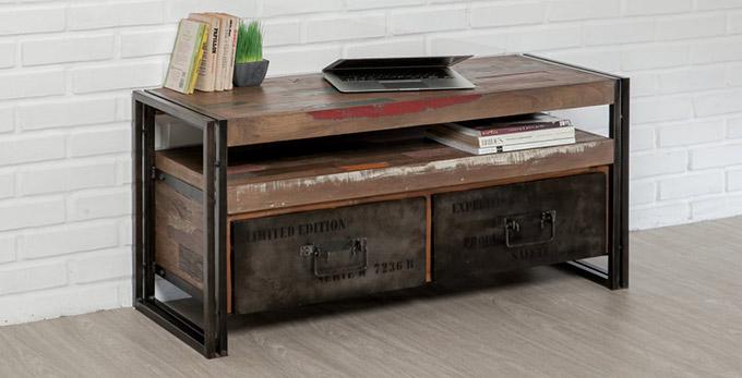 meuble tv loft en teck recycle et metal