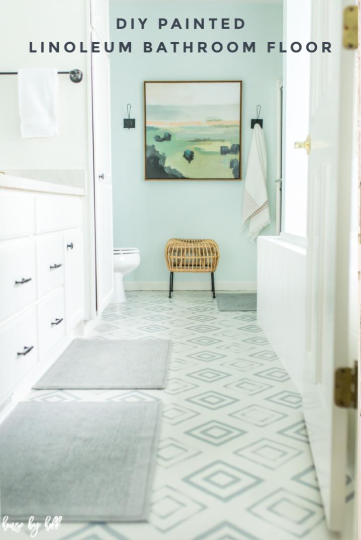 diy painted linoleum bathroom floor