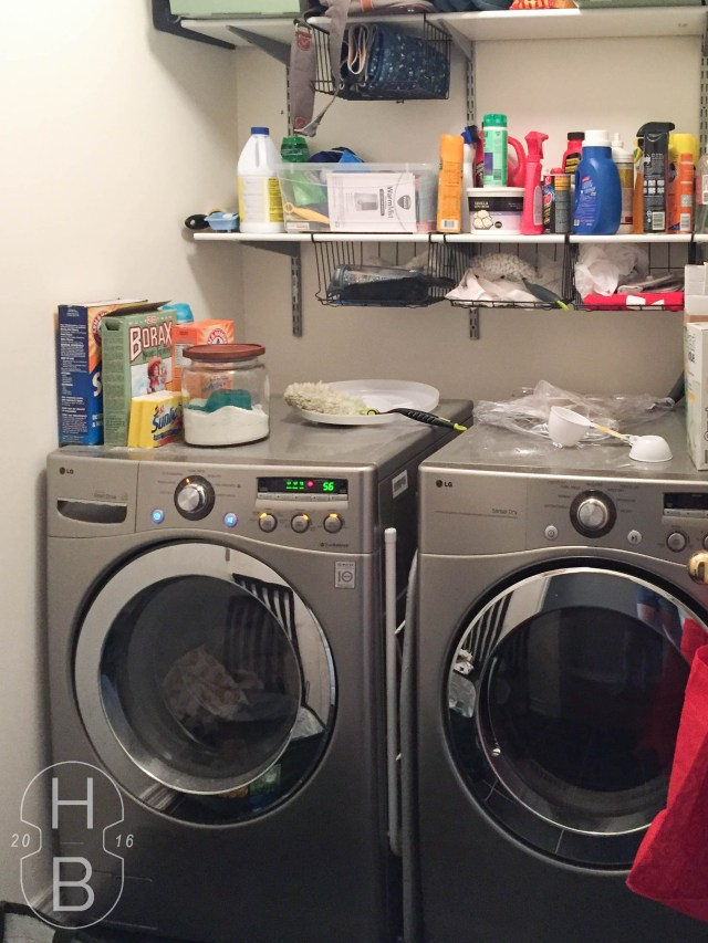 Laundry room before $100 makeover | House by the Bay Design