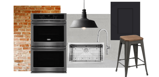 Industrial Loft Kitchen Design | Frigidaire Black Stainless Steel Appliances | House by the Bay Design