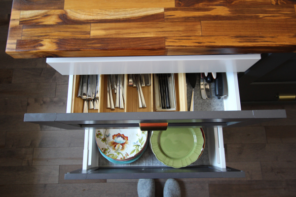 Kitchen Island Drawer Organizers   Kitchen Makeover Reveal   House by the Bay Design