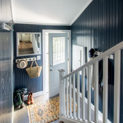 Compact Nautical Powder Room and Mudroom Makeover
