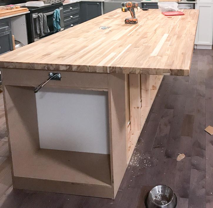 DIY Kitchen Island with butcher block countertop installed