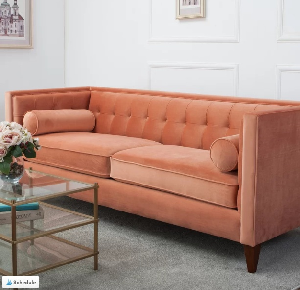 Living Coral Velvet Sofa | Decorating with Pantone's 2019 Colour of the Year | House by the Bay Design