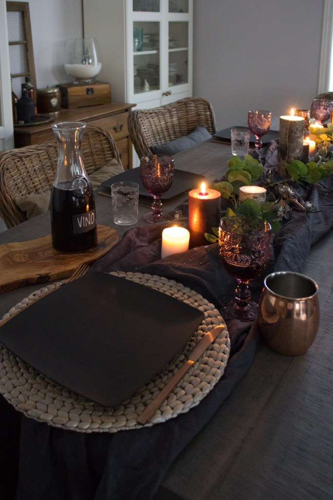 candlelit dinner | après-ski dining table decor | House by the Bay Design