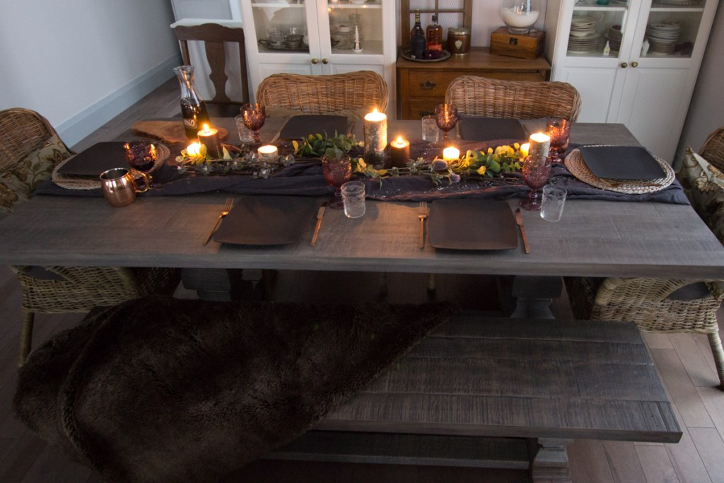 Moody winter dining table decor | House by the Bay Design