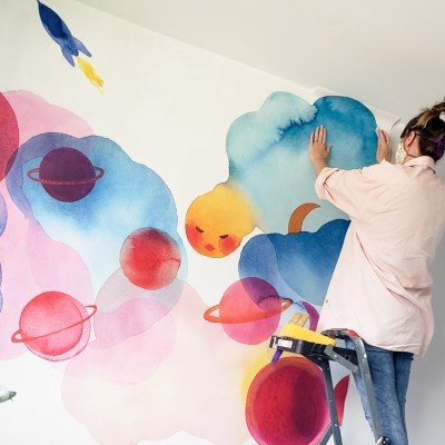 Installing the Space-Themed Nursery Mural