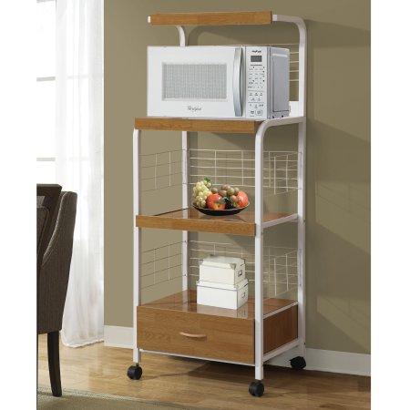 beech wooden white metal microwave cart