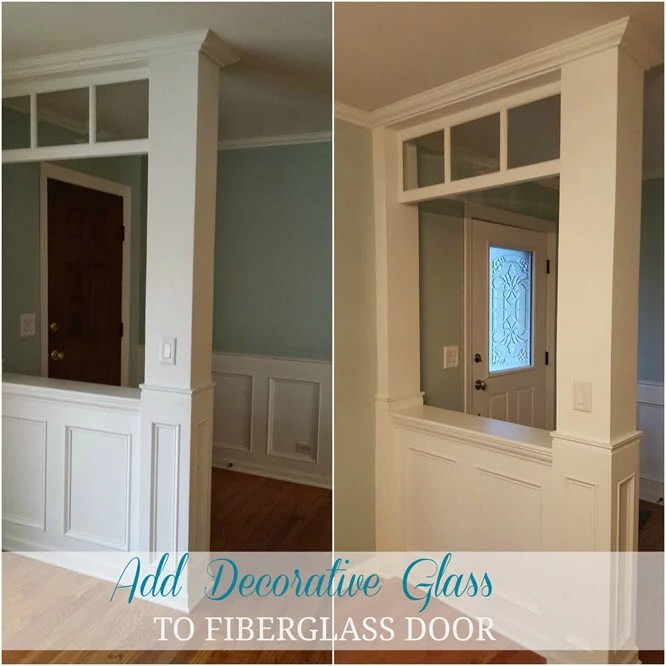 How to add decorative glass to a fiberglass door Before and After - Housekaboodle.
