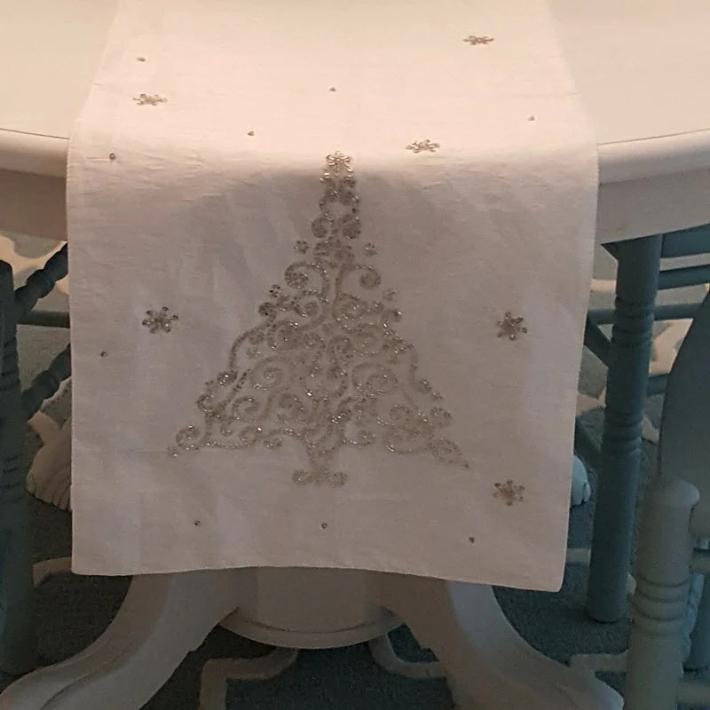 I love my new White Christmas Table Runner from Home Goods - Housekaboodle.com