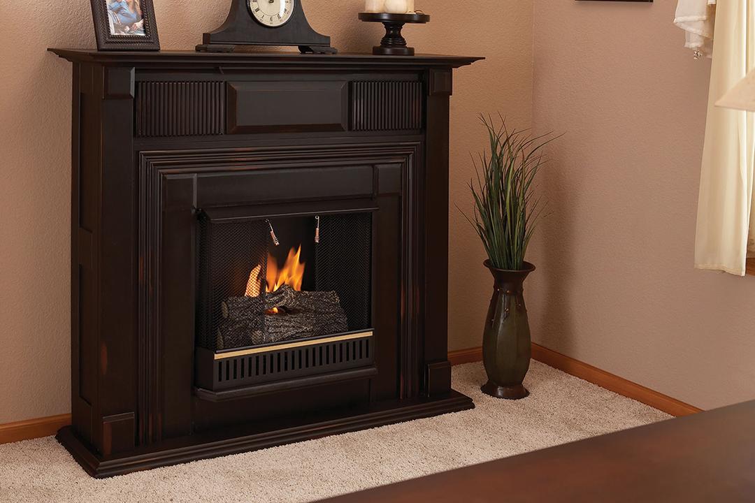 title   Corner Ventless Gas Fireplace