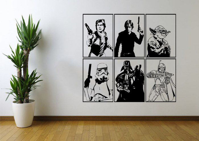 star wars wall art personaggi living