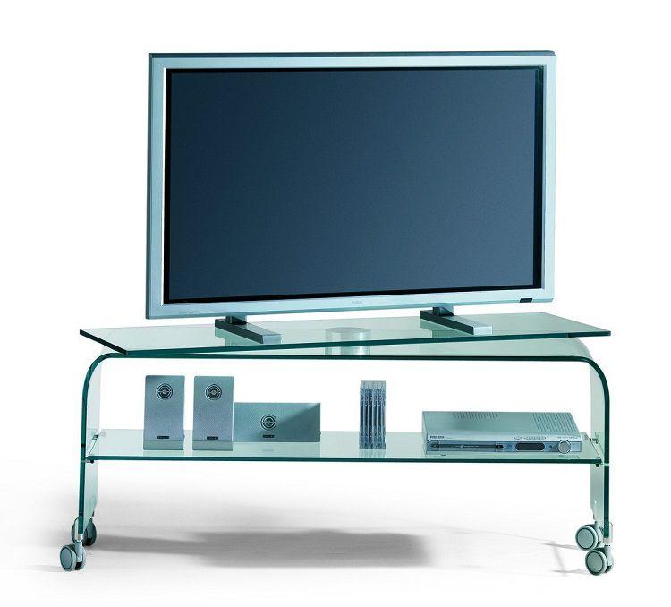 Mobile porta TV Reflex in cristallo curvato con base rotante