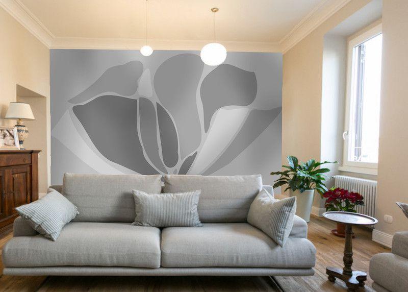 Carta da parati con fiore bianco e nero - Foto Impresso Srl