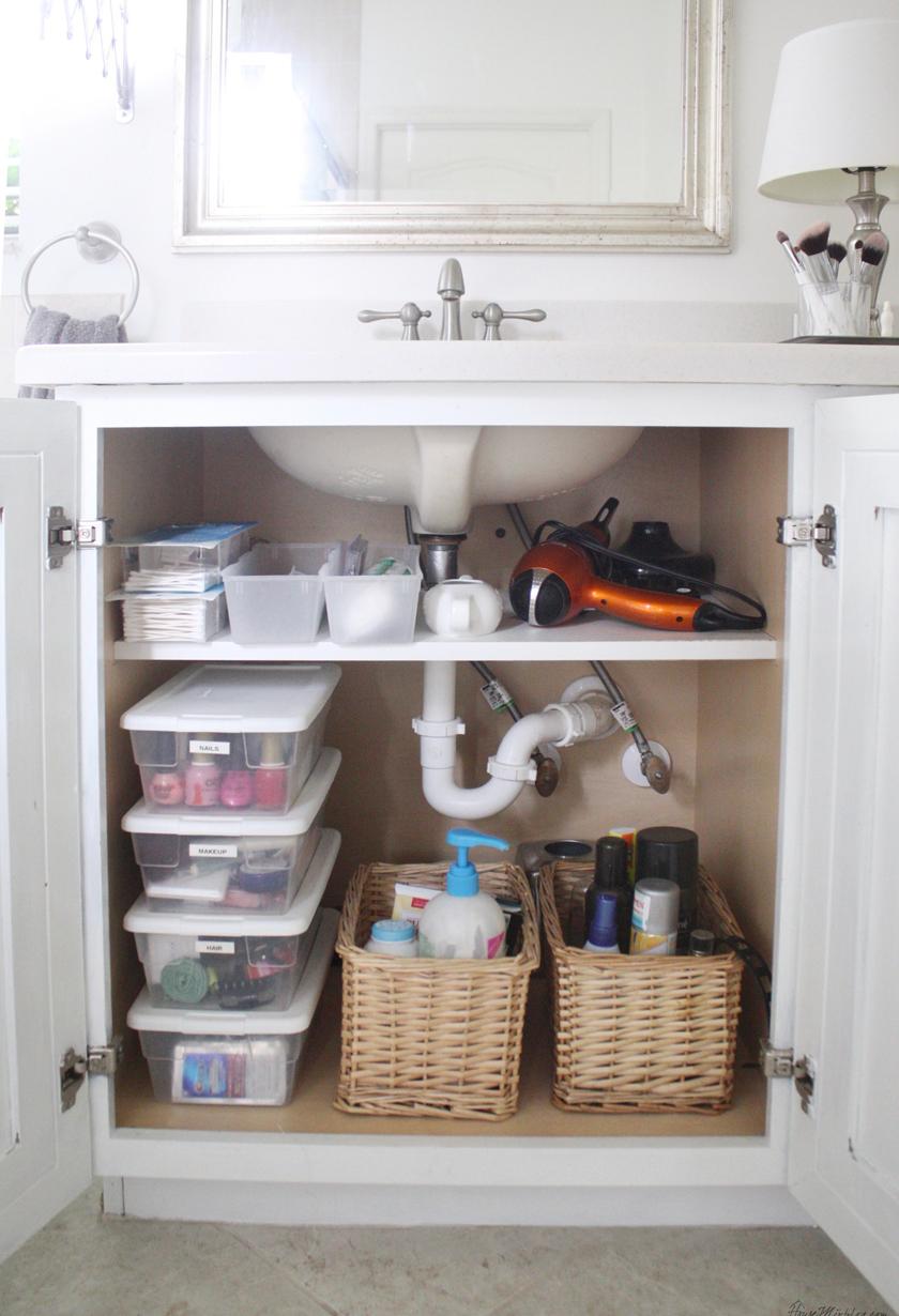 sink bathroom cabinet organization
