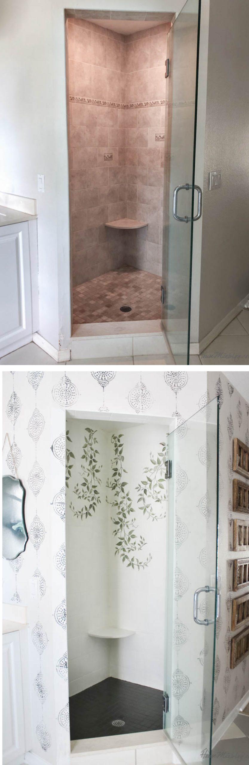 How To Paint Bathroom Tile Floor Shower Backsplash House Mix