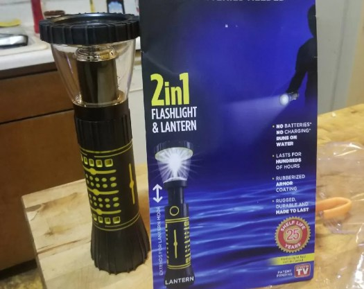 Hydralight - a wondrous 2 in 1 flashlight and lantern! It's revolutionary technology! (Just ask them.) It's a water-powered flashlight that comes with a plastic cell to dip inwater.
