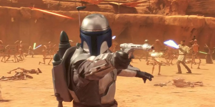 Jango Fett helmet -- one of several different Mandalorian helmets seen in movies and on television.