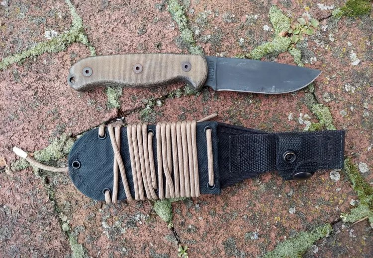 Ontario TAK knife, sheath wrapped in paracord.