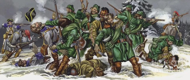 Rogers Rangers in battle with French and Indians: painting by Ron Embleton.