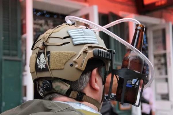 Beer straw helmet accessory