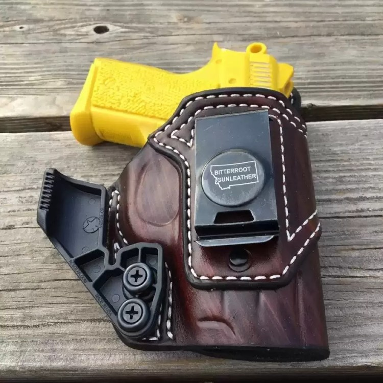 Custom AIWB Holster for CZ 2075 RAMI, for concealed carry appendix style, handmade by Bitter Root Gunleather.