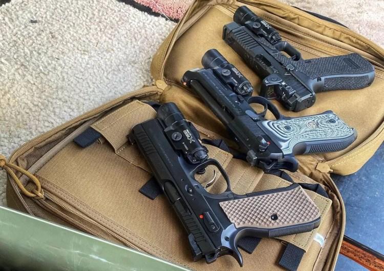 Different gun sizes on display