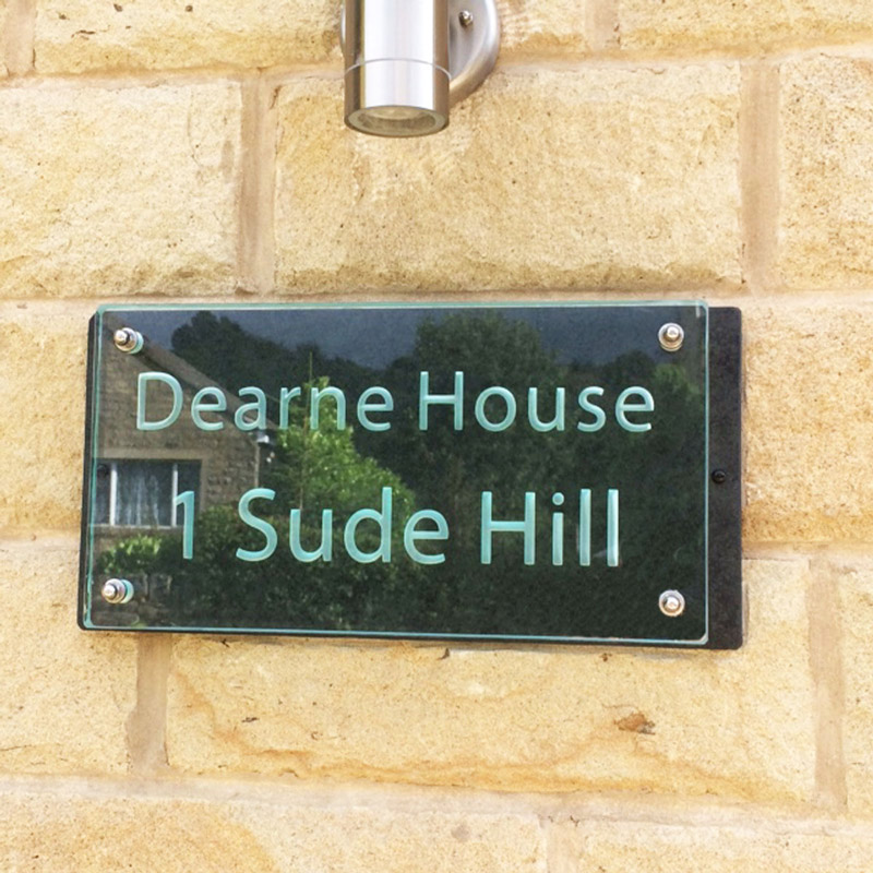 Large Glass Name House Number Plaques 01