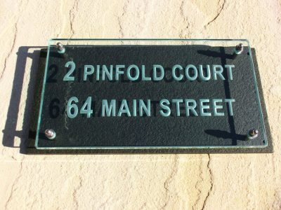 Large Glass Name & House Number Sign