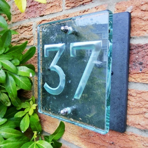 Small Glass House Number Plaques - Museo Font