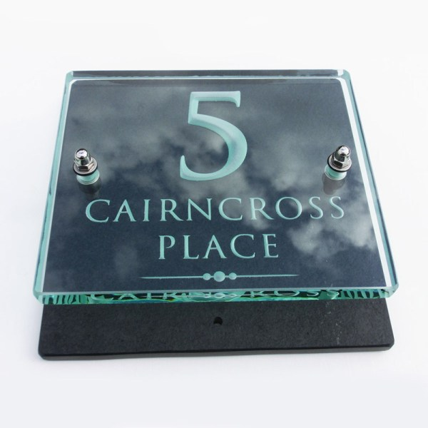 Small Glass Name & House Number Plaques 02