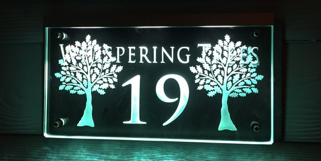 Whispering Trees - Illuminated house numbers